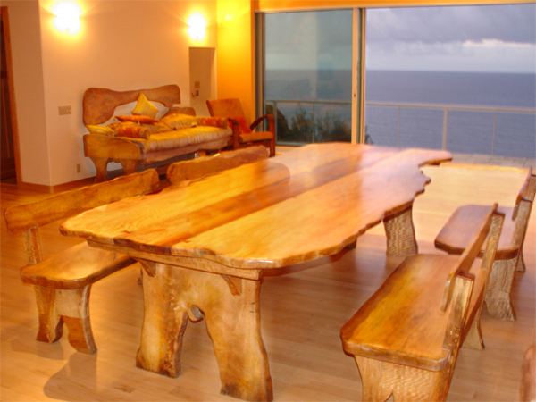This Is A Conference Size Table With Matching Benches Made Maui Hardwood Koa The Was Harvested From Naturally Fallen Trees